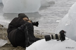 photographing ice structures originating from the Kongs Glacier, Svalbard