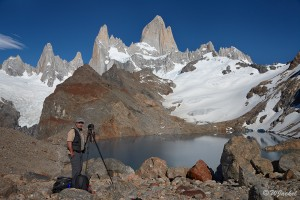 photographing the Fitz Roy massif at Laguna de Los Tres, Patagonia