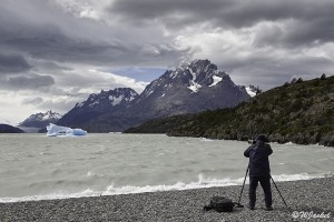 photographing icebergs in Lago Grey, Torres del Paine NP, Chile