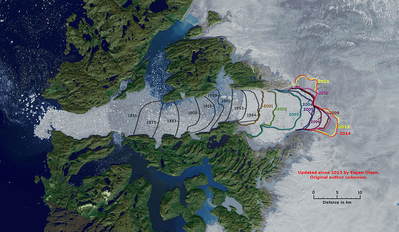Retreat of the calving front of the Jacobshavn glacier 1851-2014